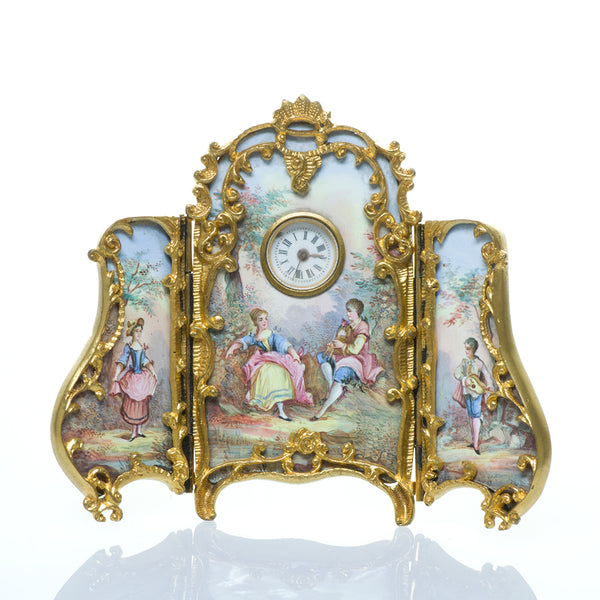 Antique Viennese Gilt Bronze Enamel Clock