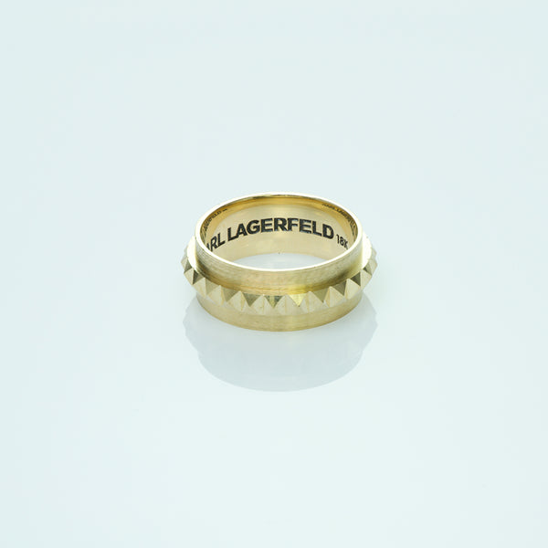Karl Lagerfeld 18K Yellow Gold Pyramid Wedding Band