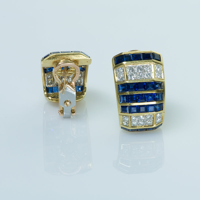 Gold Sapphire and Diamond Earrings
