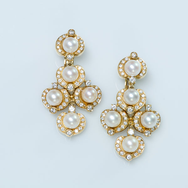 Pearl Diamond 18K Gold Chandelier Earrings