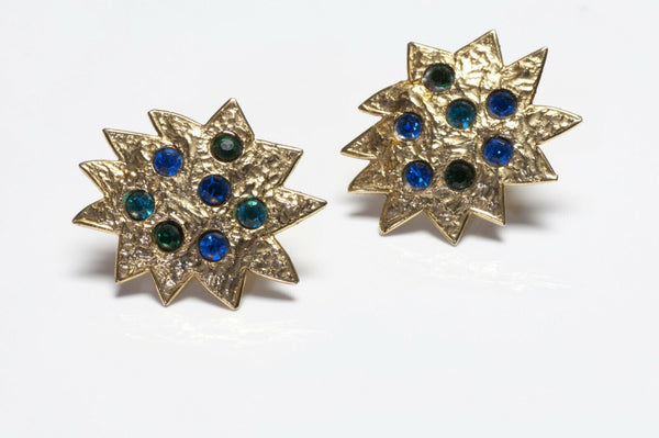 Edouard Rambaud Paris Gold Plated Blue Star Earrings