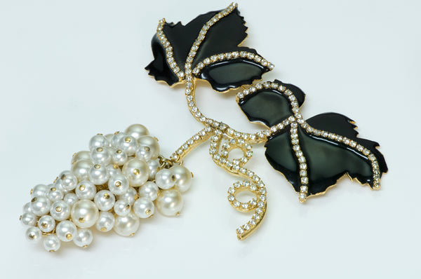 "Valentino XL Enamel Pearl ""Grape"" Brooch"