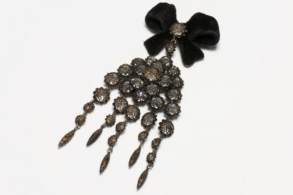 Christian Dior Francis Winter 1950's Velvet Bow Crystal Brooch