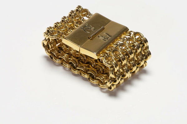 Karl Lagerfeld Paris Wide Gold Plated 5 Chain Bracelet