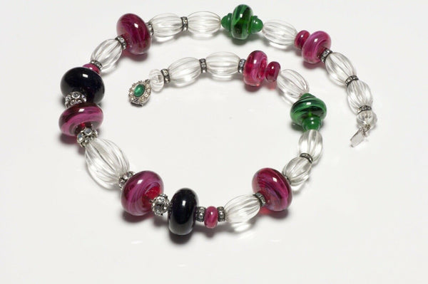 CINER Poured Glass Beads Crystal Necklace
