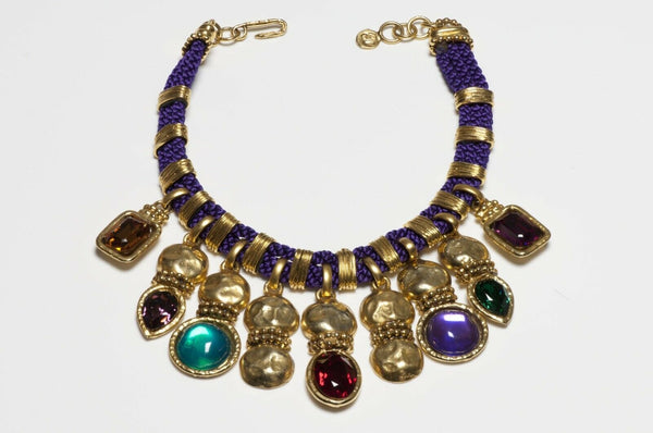 Emanuel Ungaro Paris Green Red Purple Cabochon Glass Crystal Rope Necklace