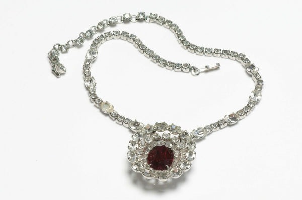 Vintage Christian Dior by Kramer Rhodium Plated Red Necklace