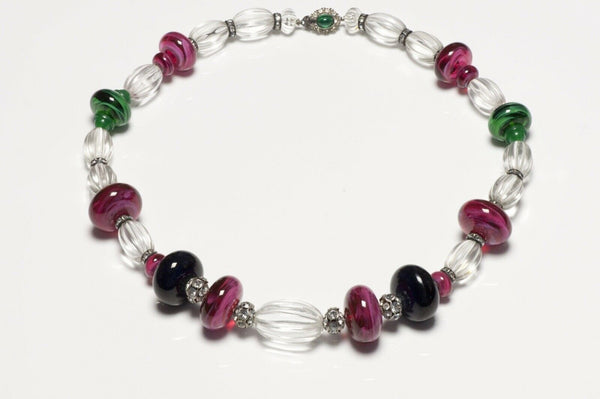 CINER Poured Glass Beads Crystal Collar Necklace