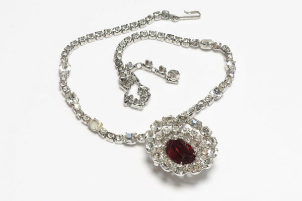 Vintage Christian Dior by Kramer Rhodium Plated Red Crystal Necklace