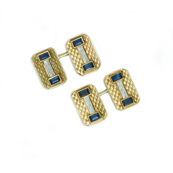 Gold Platinum and Sapphire Cufflinks