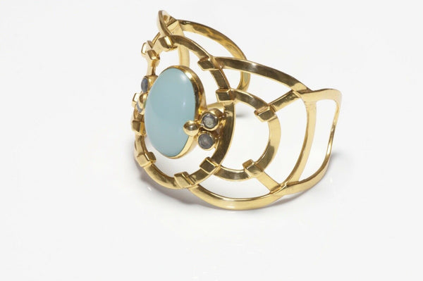 Julie Vos Wide Gold Plated Chalcedony Bracelet