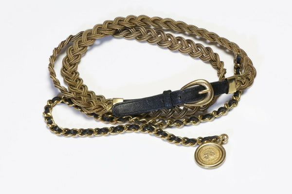 CHANEL Paris Fall 1994 Black Leather Metal Woven Mesh Coin Medallion Belt