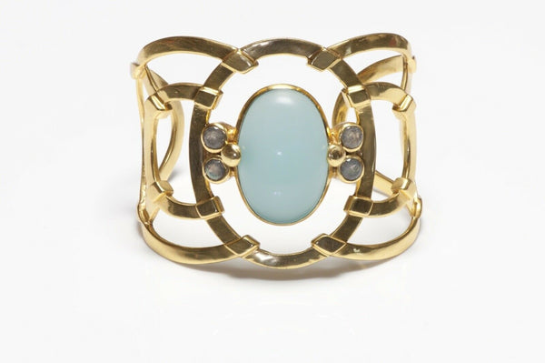 Julie Vos Wide Gold Plated Chalcedony Cuff Bracelet