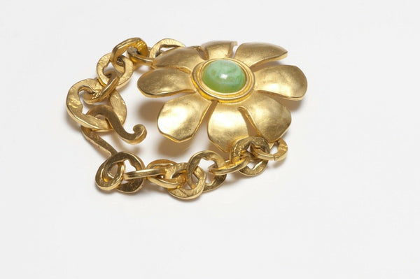 Karl Lagerfeld Paris Gold Plated Green Glass Daisy Flower Bracelet