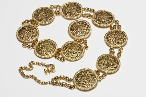 CHANEL Paris 1980's CC Crystal Coin Medallion Chain Belt