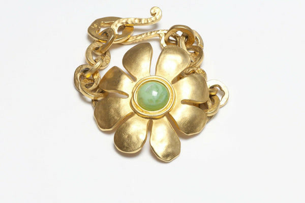 Karl Lagerfeld Paris Gold Plated Green Glass Daisy Flower Chain Bracelet