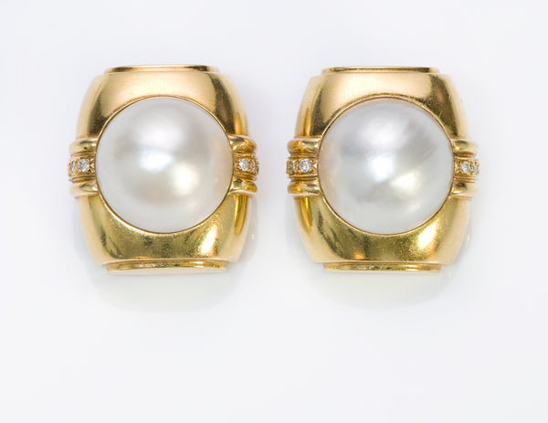 Andrew Clunn 18K Gold Pearl & Diamond Earrings