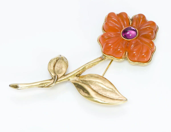 ANTIGONA Orange Glass Flower Brooch