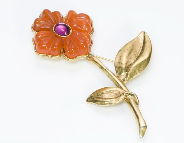 ANTIGONA Paris Orange Glass Flower Brooch