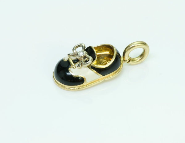 Aaron Basha 18K Gold Diamond Saddle Shoe Charm