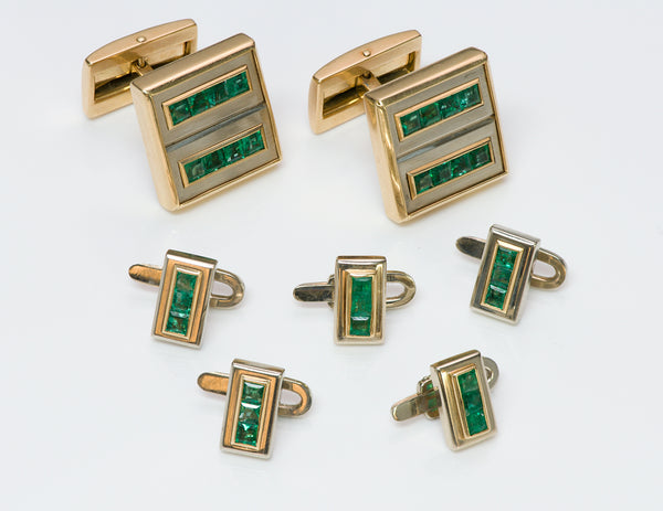 Adler Gold Emerald Cufflinks & Stud Set