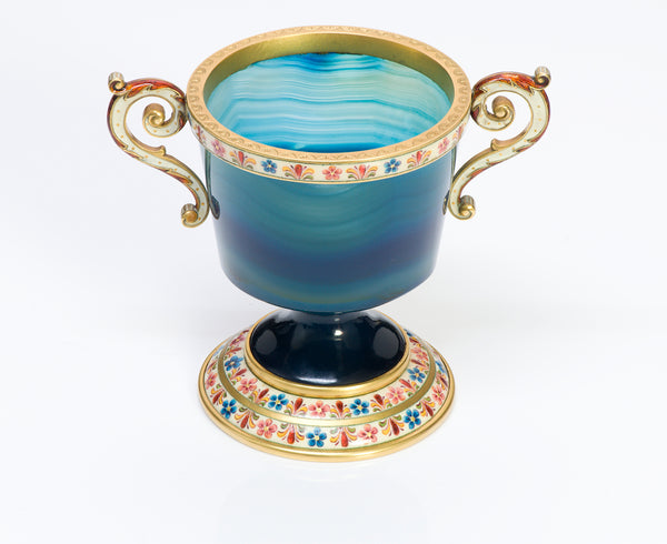 Antique Agate Gold Enamel Loving Cup