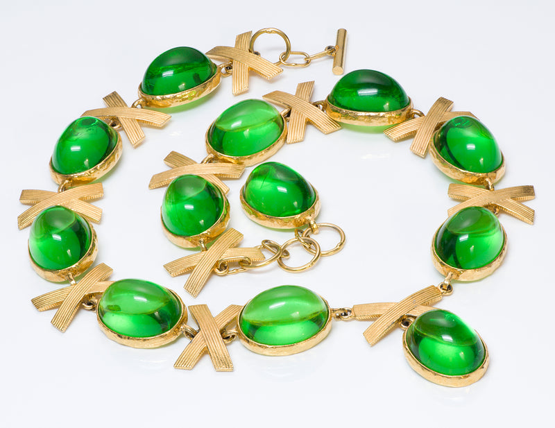 Alexis Kirk 1980's Gold Tone Green Lucite Bow Belt