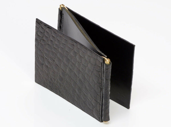 Alfred DUNHILL Glossy Black Crocodile Foldable Money Clip Men's Wallet