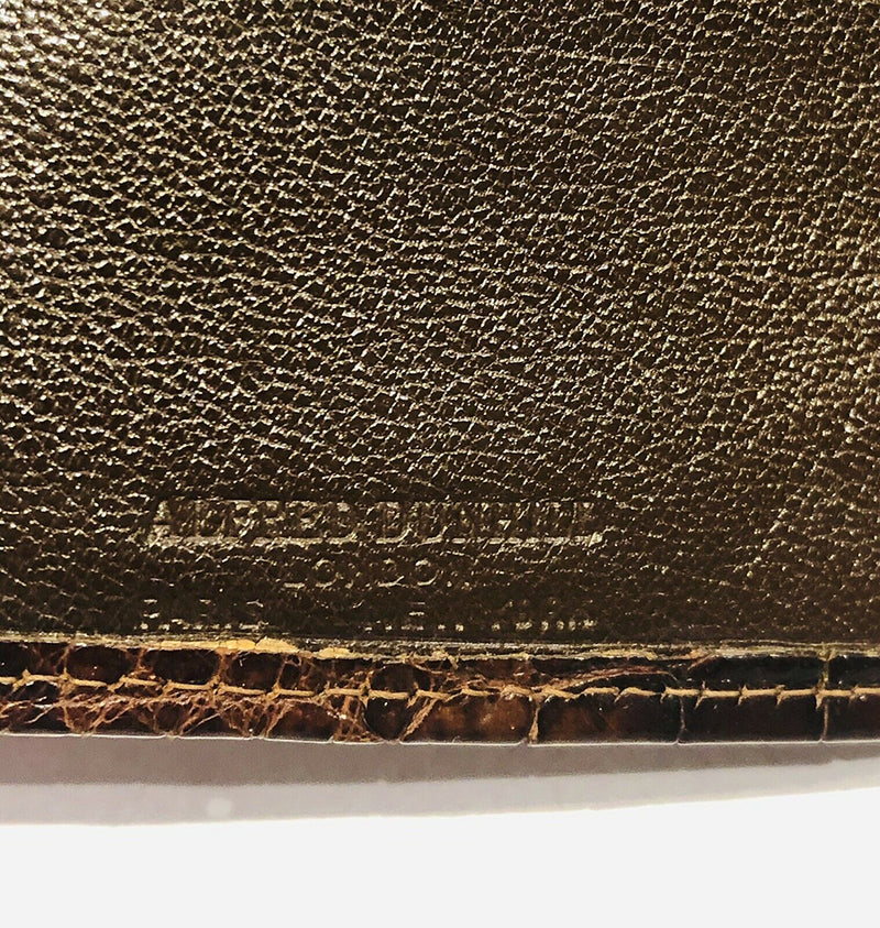 Alfred Dunhill Glossy Brown Crocodile 14K Gold Corners Long Bifold Wallet