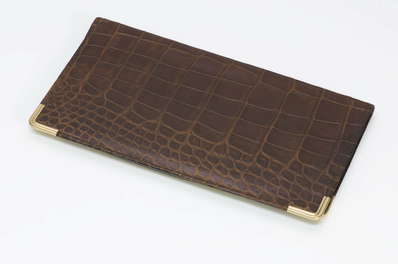 Alfred Dunhill Glossy Brown Crocodile 14K Gold Long Bifold Wallet