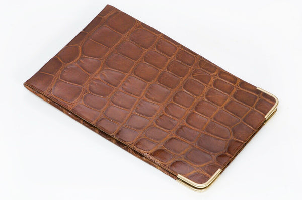 Alfred Dunhill Brown Crocodile 14K Gold Men's Case Wallet