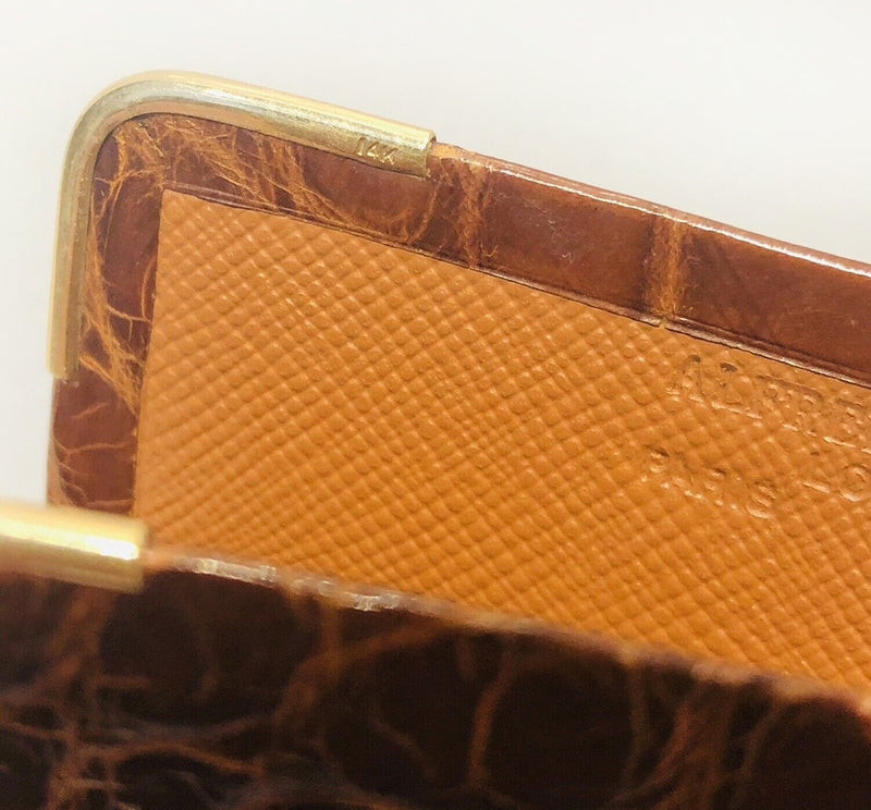 Alfred Dunhill Glossy Brown Crocodile 14K Gold Case Wallet