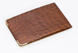 Alfred Dunhill Glossy Brown Crocodile 14K Gold Men's Case Wallet