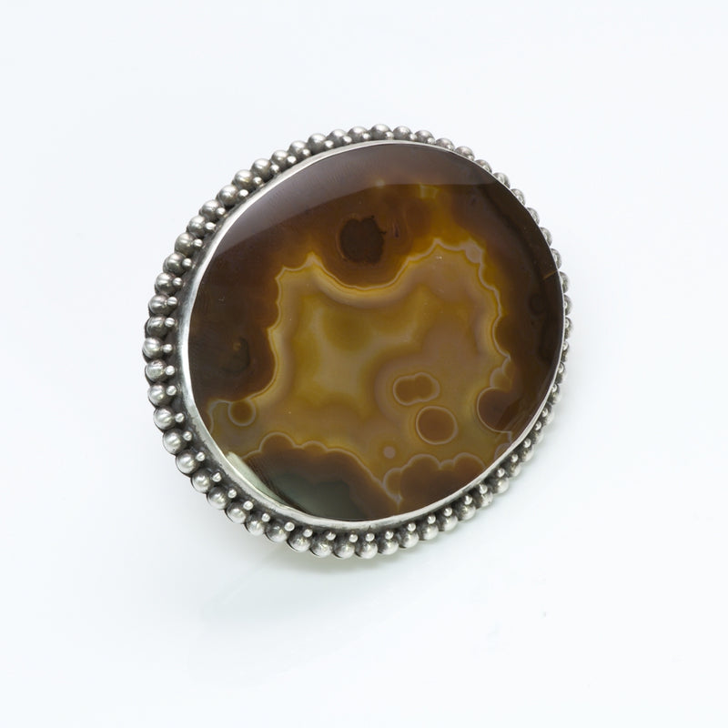 American Indian Silver Agate Brooch