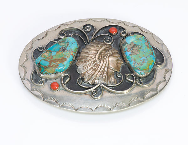 American Indian Chief Turquoise Coral Belt Buckle silver