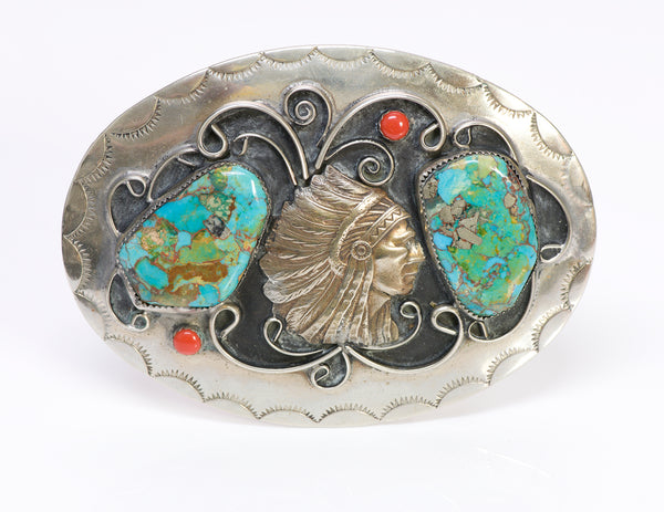American Indian Chief Turquoise Coral Belt Buckle
