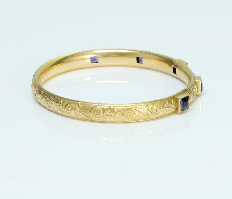 Art Nouveau Amethyst Yellow Gold Bangle