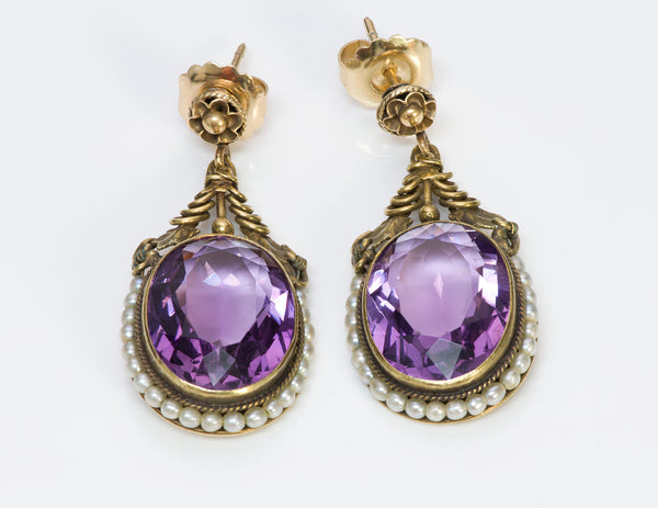 Antique Amethyst Seed Pearl Gold Earrings