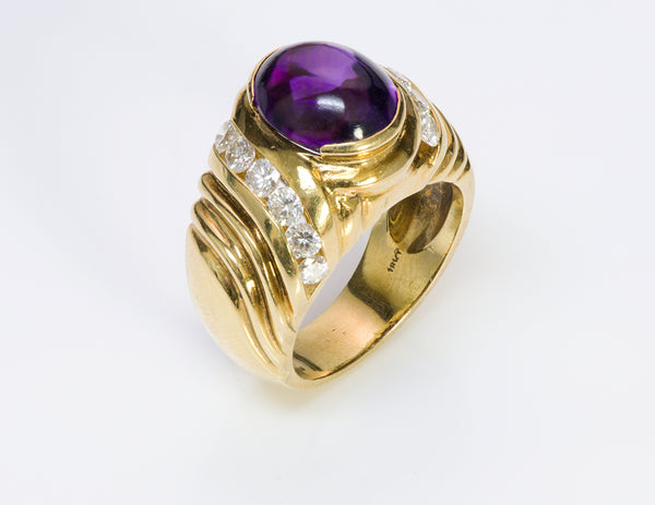Amethyst Diamond 18K Yellow Gold Ring