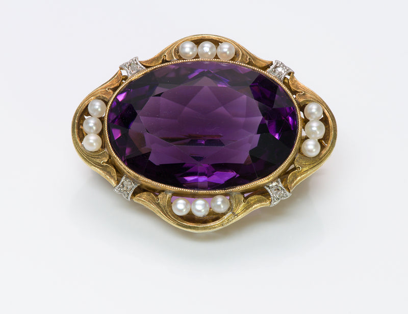 Antique Amethyst 18K Gold Pearl Brooch