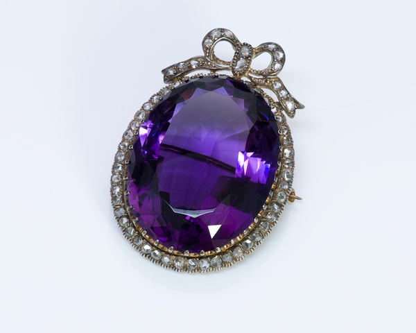 Antique Amethyst Rose Diamond Brooch 2