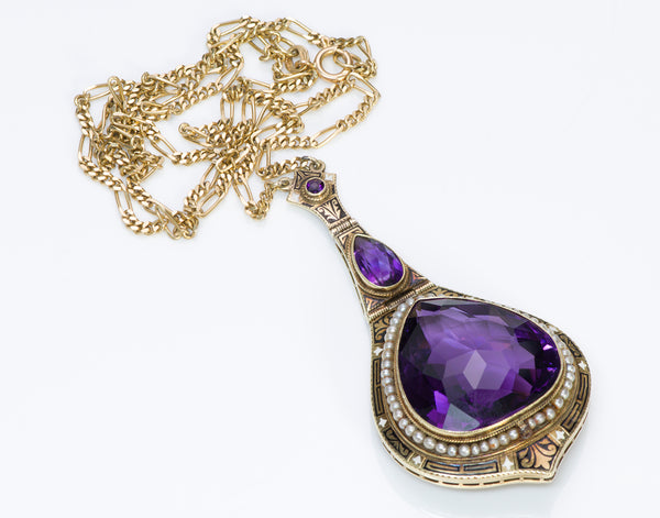 Antique Amethyst Seed Pearl Enamel Gold Chain Pendant