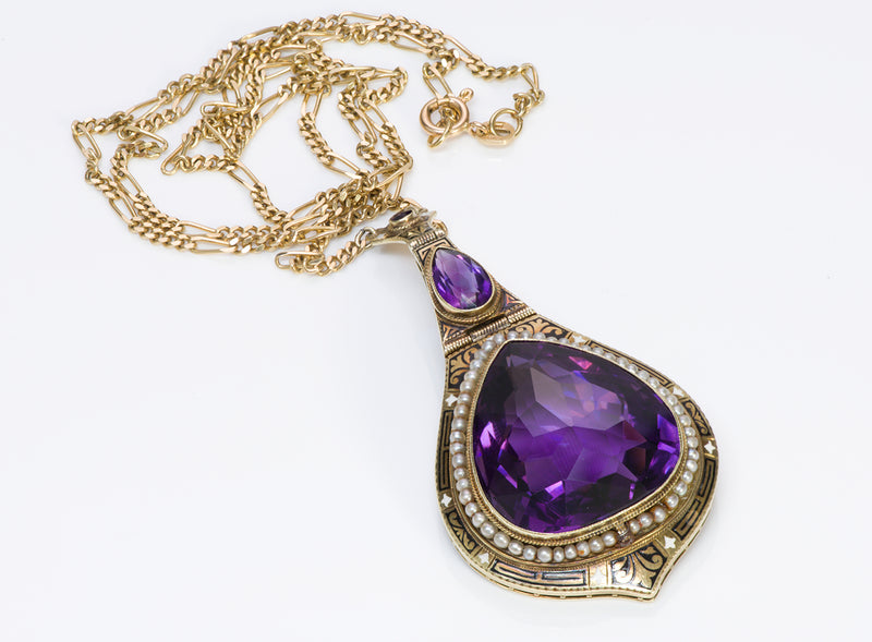 Antique Amethyst Gold Pendant Necklace