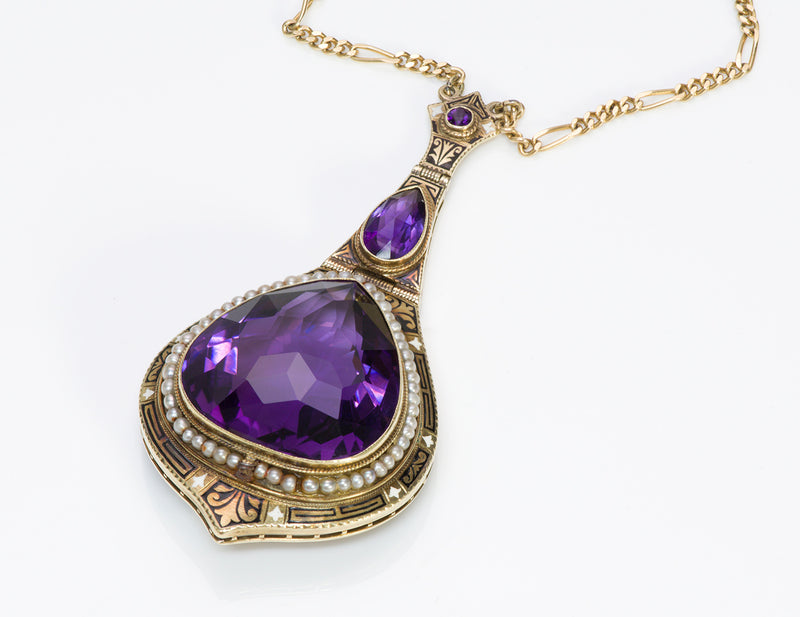 Antique Amethyst Seed Pearl Enamel Gold Pendant Necklace