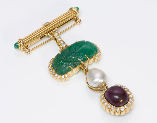 Andrew Clunn 18K Gold Emerald Diamond Pearl Ruby Pendant Pin