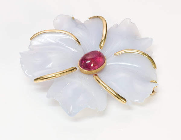 Andrew Clunn Agate Jade Rubelite Flower Gold Brooch