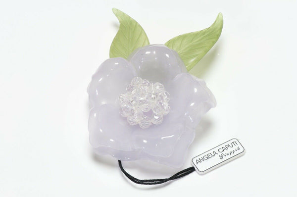 Angela Caputi Purple Resin Camellia Flower Brooch