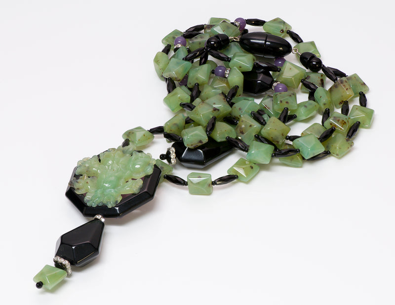 Angela Caputi Faux Jade Multi Strand Necklace