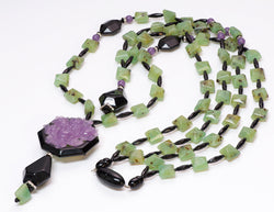 Angela Caputi Long Faux Jade Onyx Resin Carved Rose Multi Strand Necklace