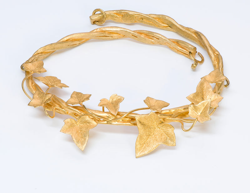Annick Goutal Paris 1980's Folavril T Leaf Necklace